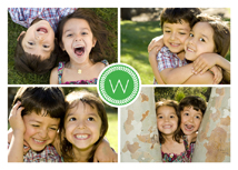 Four Photos & Initial in Green Holiday Photo Cards