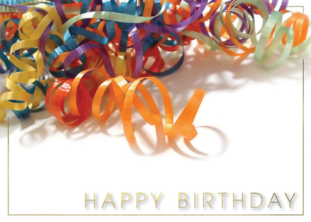 Colorful Curled Ribbons Birthday Greeting Card